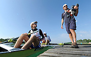Munich, GERMANY,  General views, GV' s Boating area. GBR LM2- Stroke Chris BODDY, Bow Adam FREEMAN-PASK and Coach, Rob MORGAN. FISA world Cup Rd 1. Munich Olympic Rowing Course,  Thursday  26/05/2011  [Mandatory Credit Peter Spurrier/ Intersport Images]