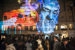 """© Licensed to London News Pictures. 14/01/2016. London, UK. """"195 Piccadilly"""" by Novak.  The work forms part of Lumiere London, a major new light festival which commenced today to be held over four evenings and featuring artists who work with light.  The event is produced by Artichoke and supported by the Mayor of London.  Photo credit : Stephen Chung/LNP"""