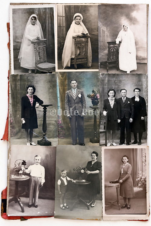 collage with family portrait memory moments 1940s France