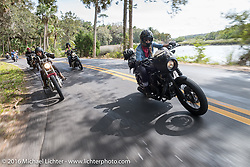 Leticia Cline of the Iron Lillies riding through Tomoka State Park during Daytona Bike Week 75th Anniversary event. FL, USA. Thursday March 3, 2016.  Photography ©2016 Michael Lichter.