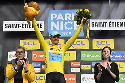 March 7, 2018 - Saint Etienne, France - SAINT-ETIENNE, FRANCE - MARCH 7 : SANCHEZ Luis Leon  (ESP)  of Astana Pro Team pictured with the yellow jersey during the podium ceremony after stage 4 of the 2018 Paris - Nice cycling race, an individual time trial over 18,4 km from La Fouillouse to Saint-Etienne on March 07, 2018 in Saint-Etienne, France, 7/03/2018 (Credit Image: © Panoramic via ZUMA Press)