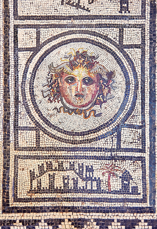 Roman Mosaic with the head of Medusa , Naples National Archaeological Museum , .<br /> <br /> If you prefer to buy from our ALAMY PHOTO LIBRARY  Collection visit : https://www.alamy.com/portfolio/paul-williams-funkystock/roman-mosaic.html - Type -   Naples    - into the LOWER SEARCH WITHIN GALLERY box. Refine search by adding background colour, place, museum etc<br /> <br /> Visit our ROMAN MOSAIC PHOTO COLLECTIONS for more photos to download  as wall art prints https://funkystock.photoshelter.com/gallery-collection/Roman-Mosaics-Art-Pictures-Images/C0000LcfNel7FpLI
