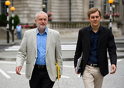 © Licensed to London News Pictures. 10/07/2016. London, UK. Labour Party Leader JEREMY CORBYN arrives at the BBC Broadcasting House in London with his  Director of Strategy SEUMAS MILNE, to appear on the Andrew Marr Show on July 10, 2016.  Photo credit: Ben Cawthra/LNP