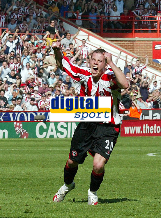 Photo: Paul Greenwood.<br />Sheffield United v West Ham United. The Barclays Premiership. 14/04/2007.<br />Sheffield United's Derek Geary celebrates Michael Tonge's goal