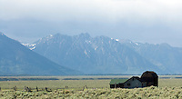 Mountains and barn from Antelope Flats