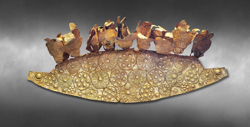 Mycenaean Gold diadem from Grave III, 'Grave of a Women', Grave Circle A, Myenae, Greece. National Archaeological Museum Athens. Grey art Background <br /> <br /> An impressive Mycenaean gold diadem with repousse rosettes and thin sheets applied to the top. .Cat No 1. 16th century BC.<br /> <br /> Shaft Grave III, the so-called 'Grave of the Women,' contained three female and two infant interments. The women were literally covered in gold jewelry and wore massive gold diadems, while the infants were overlaid with gold foil. .<br /> <br /> If you prefer to buy from our ALAMY PHOTO LIBRARY  Collection visit : https://www.alamy.com/portfolio/paul-williams-funkystock/mycenaean-art-artefacts.html . Type -   Athens    - into the LOWER SEARCH WITHIN GALLERY box. Refine search by adding background colour, place, museum etc<br /> <br /> Visit our MYCENAEN ART PHOTO COLLECTIONS for more photos to download  as wall art prints https://funkystock.photoshelter.com/gallery-collection/Pictures-Images-of-Ancient-Mycenaean-Art-Artefacts-Archaeology-Sites/C0000xRC5WLQcbhQ