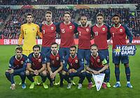 Fotball , 12. oktober 2019 , Norge - Spania<br /> Norway - Spain 1-1<br /> lagbide team picture , Norway<br /> 1 , Rune Jarstein<br /> 14<br /> Omar Elabdellaoui<br /> 6<br /> Håvard Nordtveit<br /> 3<br /> Kristoffer Ajer<br /> 2<br /> Haitam Aleesami<br /> 8<br /> Stefan Johansen<br /> 15<br /> Sander Berge<br /> 19<br /> Markus Henriksen<br /> 18<br /> Ole Kristian Selnæs<br /> 20<br /> Martin Ødegaard<br /> 7<br /> Joshua King
