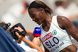 Merlene Ottey of Slovenia after competing during  the 4x100m Womens Relay Heats during day five of the 20th European Athletics Championships at the Olympic Stadium on July 31, 2010 in Barcelona, Spain.  (Photo by Vid Ponikvar / Sportida)