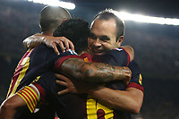 FOOTBALL - SPANISH SUPER CUP 2012 - 1ST LEG - FC BARCELONA v REAL MADRID - 23/08/2012 - PHOTO MANUEL BLONDEAU / AOP.Press / DPPI - XAVI HERNANDEZ CELEBRATES WITH ANDRES INIESTA