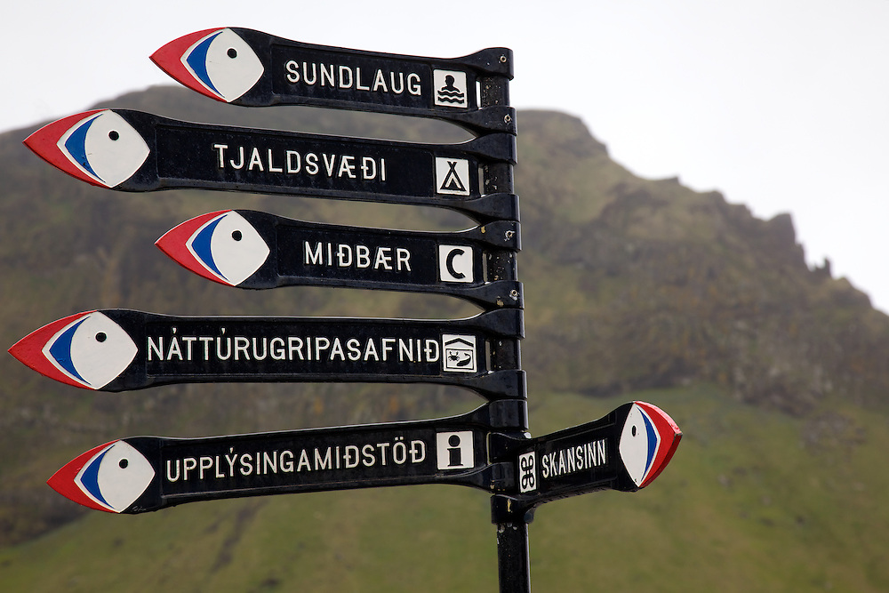 Colorful Puffin street signs on Heimaey Island in the Westman Islands of south Iceland.