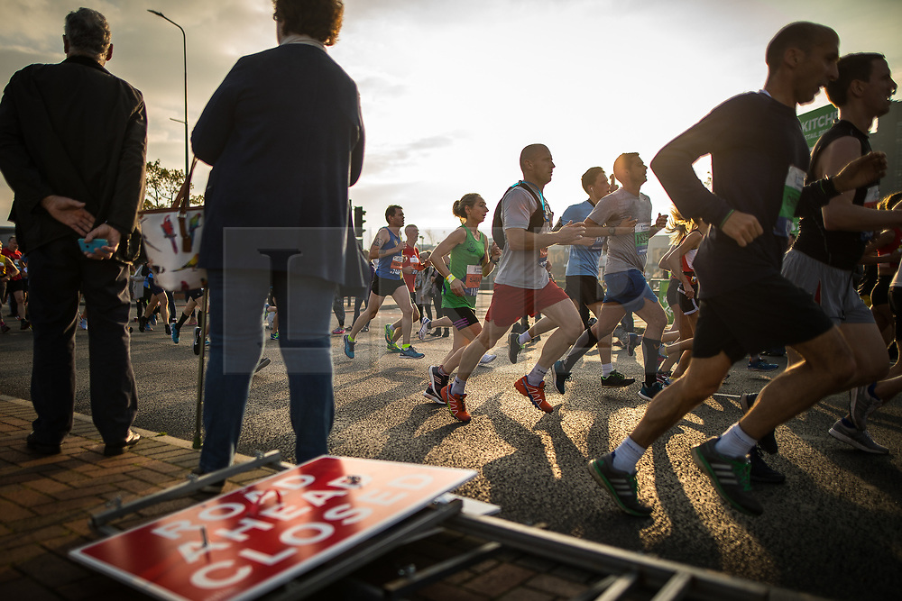 © Licensed to London News Pictures . 15/10/2017 . Manchester , UK . Athletes taking part in the Greater Manchester Half Marathon in Old Trafford . Photo credit : Joel Goodman/LNP