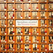 Board depicting Australians who had been awarded the Victoria Cross. Australian War Memorial in Canberra, ACT, Australia
