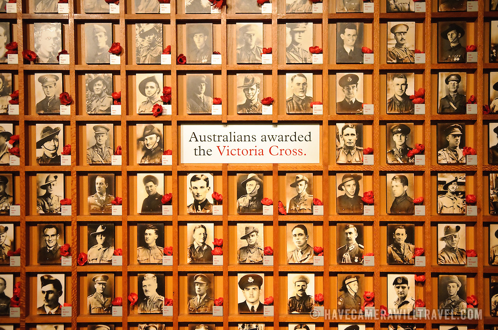 Board depicting Australians who had been awarded the Victoria Cross. Australian War Memorial in Canberra, ACT, Australia