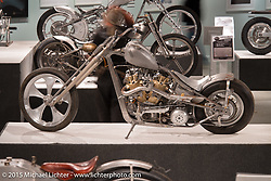 Dalton Walker's water cooled Petruzzi knucklehead custom in the Naked Truth exhibition at the Buffalo Chip gallery during the 75th Annual Sturgis Black Hills Motorcycle Rally.  SD, USA.  August 5, 2015.  Photography ©2015 Michael Lichter.