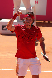 May 4, 2018 - Lisbon, Portugal - Stefanos Tsitsipas of Greece celebrates his victory over Roberto Carballes Baena of Spain during the Millennium Estoril Open ATP 250 tennis tournament quarterfinals, at the Clube de Tenis do Estoril in Estoril, Portugal on May 4, 2018. (Credit Image: © Pedro Fiuza/NurPhoto via ZUMA Press)