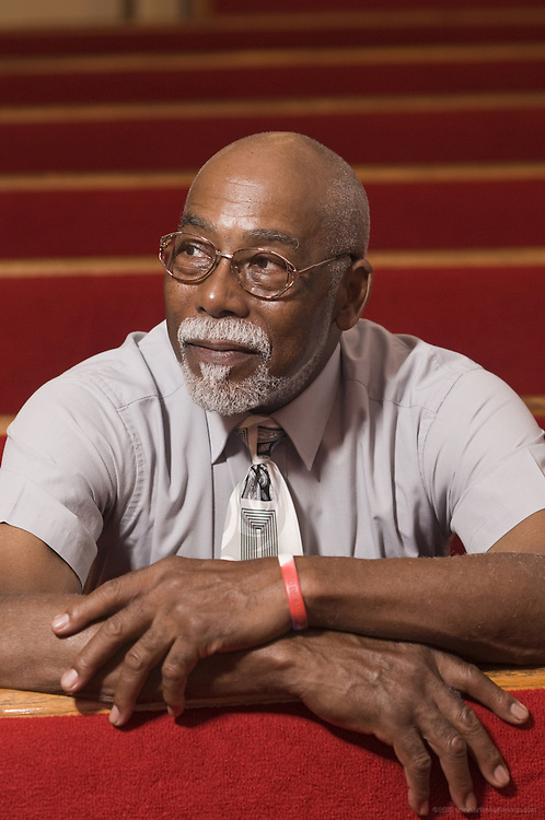 Author Norris Shelton, photographed at the First Church of American Slaves at 314 Dr. W. J. Hodge Street, Monday Aug. 29, 2011 in Louisville, Ky. (Photo by Brian Bohannon)
