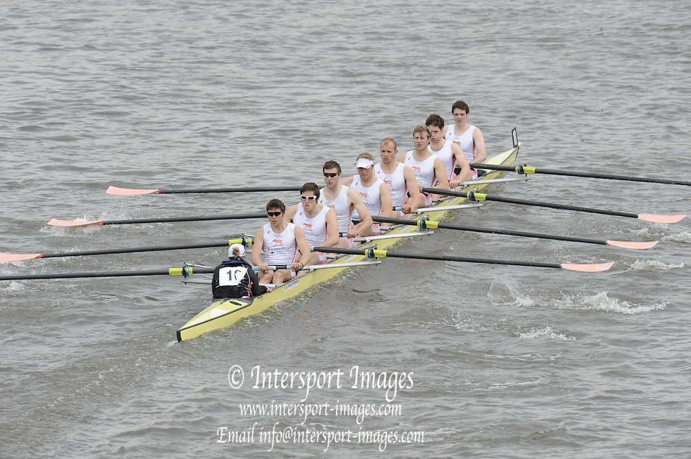 Chiswick, London, GREAT BRITAIN,  Leander Club 3, starting the the race, looking from Chiswick Bridge. 2011 Head of the River Race. Mortlake to Putney,  Championship Course River Thames on Saturday  02/04/2011  [Mandatory Credit, Peter Spurrier/Intersport-images]