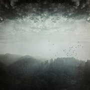 Evening light and haze over the hills and forest of northern La Palma - textured photograph