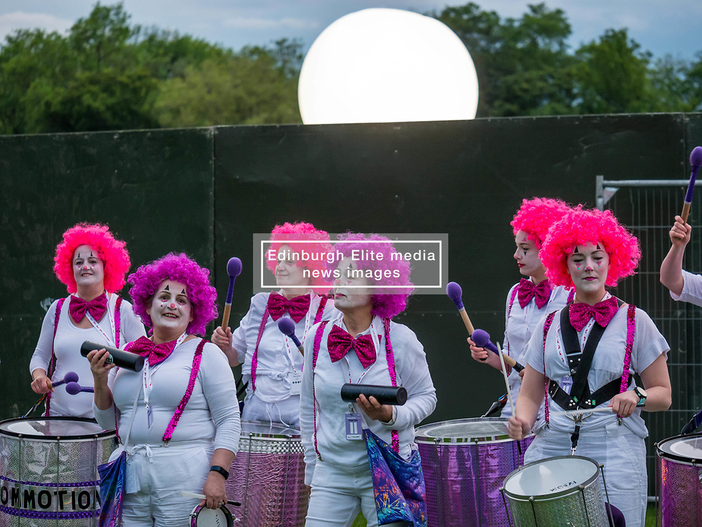 Pictured: Moonwalk Scotland, Edinburgh, Scotland, United Kingdom, 08 June 2019. The 14th Moonwalk Scotland 'Walk the Walk' night-time event with several thousand participants wearing specially decorated bras with a circus theme  to raise money  and awareness for breast cancer causes. Drumming band Commotion.<br /> <br /> Sally Anderson   EdinburghElitemedia.co.uk
