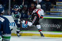 KELOWNA, BC - MARCH 6: Kai Uchacz #16 of the Seattle Thunderbirds is checked by Elias Carmichael #14 of the Kelowna Rockets during first period at Prospera Place on March 6, 2020 in Kelowna, Canada. (Photo by Marissa Baecker/Shoot the Breeze)