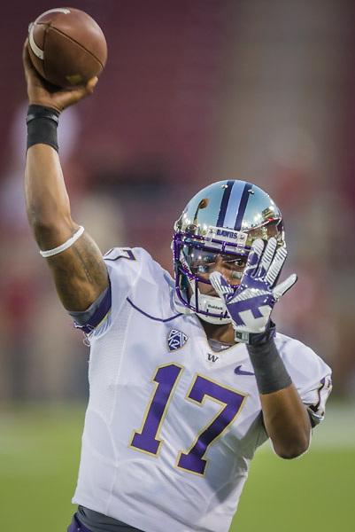 PALO ALTO, CA -  OCTOBER 5:  Keith Price #17 of the University of Washington Huskies warms up before an NCAA football game against the Stanford University Cardinal played on October 5, 2013 at Stanford Stadium in Palo Alto, California. (Photo by David Madison/Getty Images) *** Local Caption *** Keith Price