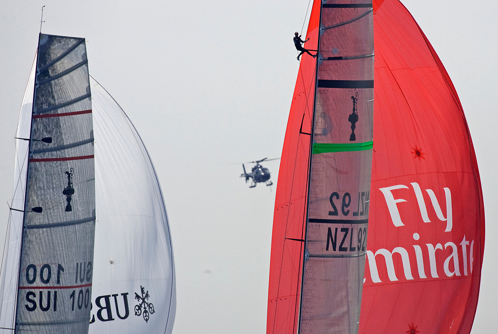 Race 2 Emirates Team New Zealand wins by 28 seconds over ALINGHI<br /> 32nd America's Cup, 2007<br /> Valencia, Spain<br /> © Daniel Forster