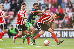 Southampton's Jose Fonte keeps Swansea City's Neil Taylor off the ball - Mandatory by-line: Jason Brown/JMP - 07966 386802 - 26/09/2015 - FOOTBALL - Southampton, St Mary's Stadium - Southampton v Swansea City - Barclays Premier League