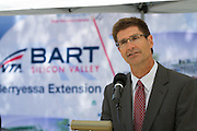 The Silicon Valley Leadership Group CEO, Carl Guardino, addresses the media after Sen. Barbara Boxer (D-CA) toured the construction site of the Berryessa Extension Project in San Jose, Calif., on Aug. 21, 2012.  Photo by Stan Olszewski/SOSKIphoto.