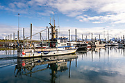 A commercial fishing boat motors through the City of Homer Port & Harbor marina on the Kachemak Bay overlooking the Kenai Mountains in Homer, Alaska.