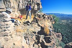 Charlie & Richard Measuring Cliff Dwelling, Mustang Ridge, Apache Reservation