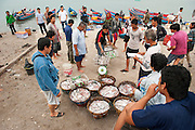 Traditional fishermen in the village of Reboh, Bangka Belitung Islands, sell in the fish they catched in their small boats on the Indian Ocean, Indonesia. Fishing decreased due to the tin mining on the open sea. Bangka Island (Indonesia) is devastated by illegal tin mines. The demand for tin has increased due to its use in smart phones and tablets.<br /> <br /> Les pêcheurs traditionnel vendent  du poisson, village Reboh, îles Bangka Belitung, Indonésie. La pêche diminue à cause de l'exploitation sous martine de l'étain. L'île de Bangka (Indonésie) est dévastée par des mines d'étain sauvages. la demande de l'étain a explosé à cause de son utilisation dans les smartphones et tablettes.