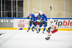 Miha Stebih and Gregor Koblar during Ice Hockey match between National teams of Slovenia and Belarus at International tournament Euro ice hockey Challenge 2019, on February 9, 2019 in Ice Arena Bled, Slovenia. Photo by Peter Podobnik / Sportida