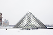 Paris, France. December 17th 2009..Pyramides du Louvre - Cour Napoléon (1st Arrondissement)