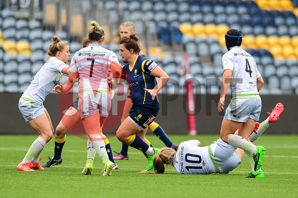 Zoe Bennion of Worcester Valkyries evades the tackle of Zoe Harrison of Saracens Ladies  - Mandatory by-line: Craig Thomas/JMP - 30/09/2017 - RUGBY - Sixways Stadium - Worcester, England - Worcester Valkyries v Saracens Women - Tyrrells Premier 15s