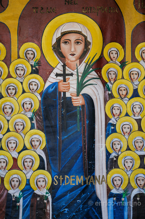 Nile Delta. St Damiana monastery, between el Mansoura and Damietta. Naive image of St Damiana, worshipped by Copts pilgrims. Pilgrimage to St Damiana, in a dangerous area for Christian, is one of the most important for Egyptian coptics.
