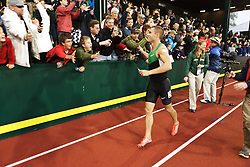 men's 800 meter final, Nick SYmmonds greets fans on victory lap after winning and making Olympic team