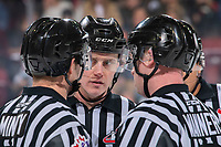 KELOWNA, BC - JANUARY 11: Referee Ward Pateman stands at centre ice at the Kelowna Rockets against the Kamloops Blazers at Prospera Place on January 11, 2020 in Kelowna, Canada. (Photo by Marissa Baecker/Shoot the Breeze)