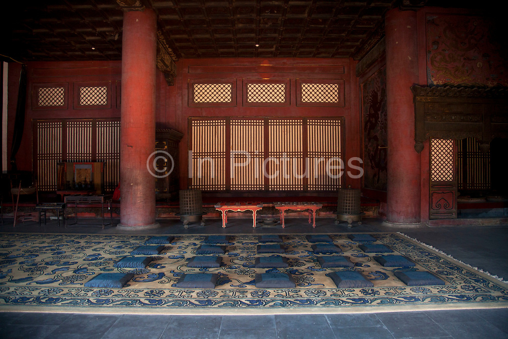 Room where women were allowed in the Forbidden City, the Chinese imperial palace from the Ming Dynasty to the end of the Qing Dynasty. This was where the emporer's wives and concubines would spend their time. It is located in the middle of Beijing, China, and now houses the Palace Museum. For almost 500 years, it served as the home of emperors and their households, as well as the ceremonial and political center of Chinese government. Built in 1406 to 1420, the complex consists of 980 buildings. The palace complex exemplifies traditional Chinese palatial architecture, and has influenced cultural and architectural developments in East Asia and elsewhere. The Forbidden City was declared a World Heritage Site in 1987, and is listed by UNESCO as the largest collection of preserved ancient wooden structures in the world.