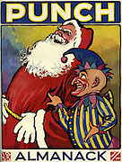 Front cover of the Punch Almanack  - 1933 .  Illustrated by JH Dowd..Mr Punch with Father Christmas .