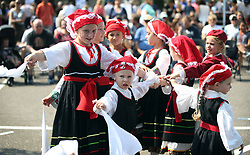 September 10, 2017 - Minneapolis, MN - Minnesota, USA - Lauren Kieffer, left Sophia Forchas, and Brenna Hideg and members of the St Mary's Zouzounia- jr group danced during the Greek Festival at  St. Mary's Greek Orthodox Church Sunday September 10,2017 in Minneapolis  , MN. ]  JERRY HOLT • jerry.holt@startribune.com (Credit Image: © Jerry Holt/Minneapolis Star Tribune via ZUMA Wire)