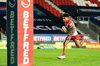Rugby League - 2020 Betfair Super League - Semi-final - St Helens vs Catalan Dragons - TW Stadium<br /> <br /> St. Helens's Kevin Naiqama runs free to score a try<br /> <br /> COLORSPORT/TERRY DONNELLY