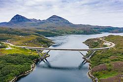 Aerial view of Kylesku Bridge crossing Loch a' Chàirn Bhàin in Sutherland, Scotland, UK