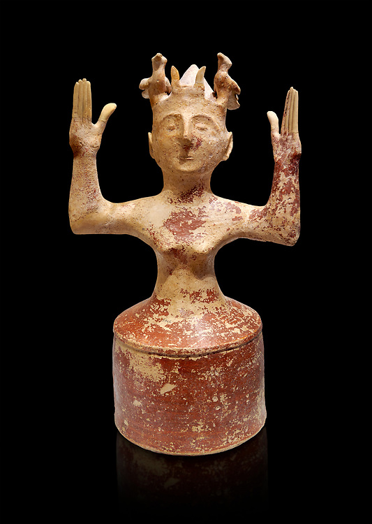 Minoan Postpalatial terracotta  goddess statue with raised arms,  Karphi Sanctuary 1200-1100 BC, Heraklion Archaeological Museum, black background. <br /> <br /> The Goddesses are crowned with symbols of earth and sky in the shapes of snakes and birds, describing attributes of the goddess as protector of nature. .<br /> <br /> If you prefer to buy from our ALAMY PHOTO LIBRARY  Collection visit : https://www.alamy.com/portfolio/paul-williams-funkystock/minoan-art-artefacts.html . Type -   Heraklion   - into the LOWER SEARCH WITHIN GALLERY box. Refine search by adding background colour, place, museum etc<br /> <br /> Visit our MINOAN ART PHOTO COLLECTIONS for more photos to download  as wall art prints https://funkystock.photoshelter.com/gallery-collection/Ancient-Minoans-Art-Artefacts-Antiquities-Historic-Places-Pictures-Images-of/C0000ricT2SU_M9w