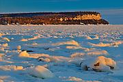Sunrise on ice in Isthmus Bay (Georgian Bay)<br /> Bruce Peninsula National Park<br /> Ontario<br /> Canada
