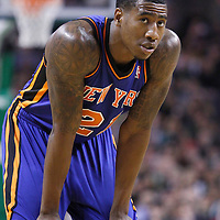 04 March 2012: New York Knicks guard Iman Shumpert (21) rests during the Boston Celtics 115-111 (OT) victory over the New York Knicks at the TD Garden, Boston, Massachusetts, USA.