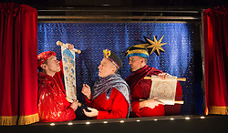 "© Licensed to London News Pictures. 14/01/2013. London, England. Craig Stephens as Herod, Gerard Bell and Graeme Rose as Wise Men. Stan's Cafe present ""The Cardinals"" at the Roundhouse during the London International Mime Festival 2013. Photo credit: Bettina Strenske/LNP"