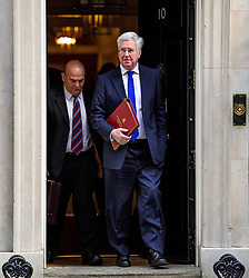 © Licensed to London News Pictures. 30/03/2017. London, UK. Defence secretary MICHAEL FALLON (Right), seen leaving Number 10 Downing Street on March 30, 2017, following a meeting with British Prime minister, Theresa May. Photo credit: Ben Cawthra/LNP