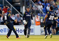 Glamorgan's Chris Cooke celebrates the wicket of Gloucestershire's Ian Cockbain (not pictured)<br /> <br /> Photographer Simon King/Replay Images<br /> <br /> Vitality Blast T20 - Round 8 - Glamorgan v Gloucestershire - Friday 3rd August 2018 - Sophia Gardens - Cardiff<br /> <br /> World Copyright © Replay Images . All rights reserved. info@replayimages.co.uk - http://replayimages.co.uk