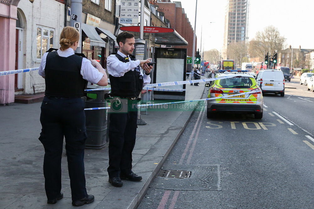 March 29, 2019 - London, UK, UK - London, UK. Crime scene on Tottenham High Road at the junction with Talbot Road in north London where a man in his 30s was found with stab wounds at a bus stop just after 6.30am this morning. (Credit Image: © Dinendra Haria/London News Pictures via ZUMA Wire)