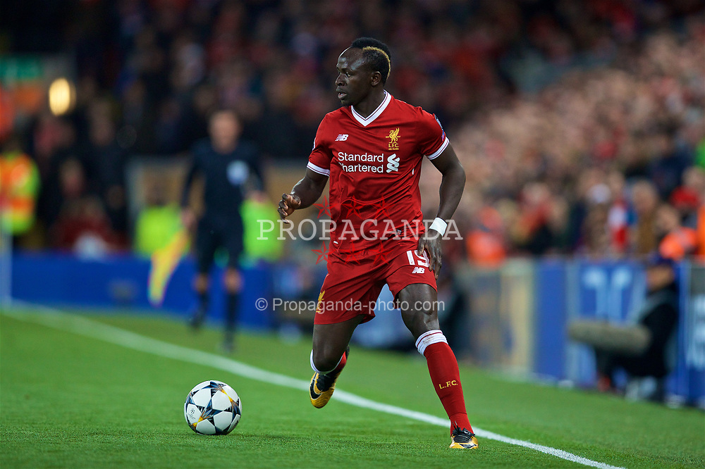 LIVERPOOL, ENGLAND - Wednesday, April 4, 2018: Liverpool's Sadio Mane during the UEFA Champions League Quarter-Final 1st Leg match between Liverpool FC and Manchester City FC at Anfield. (Pic by David Rawcliffe/Propaganda)